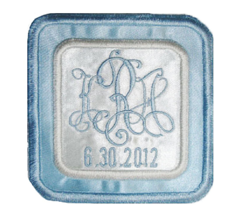 Katharine Embroidered Personalized Wedding Gown Label in Bridal Blue and Ivory