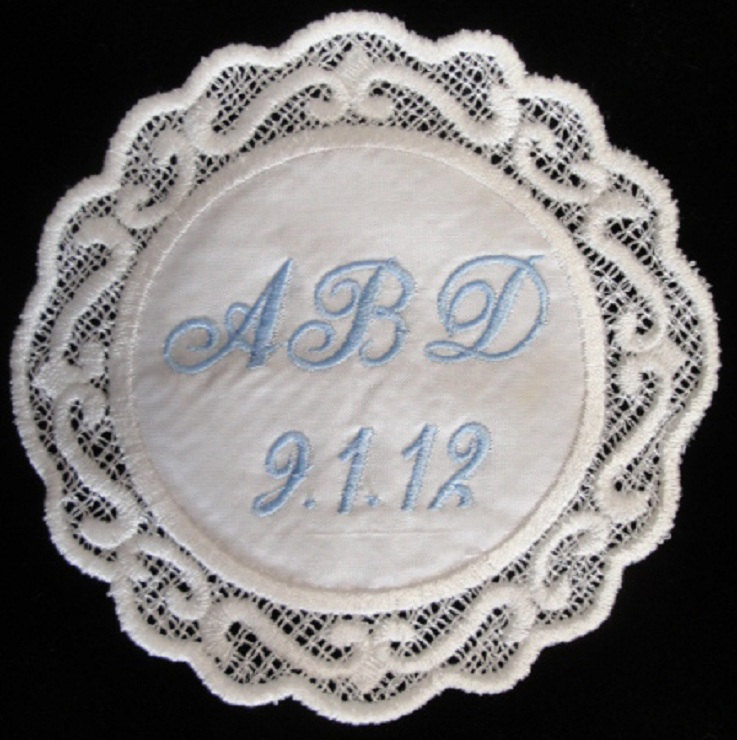 Melanie Silk Scrolled Created Lace Wedding Gown Label Custom Embroidered Personalized AND Gift Box