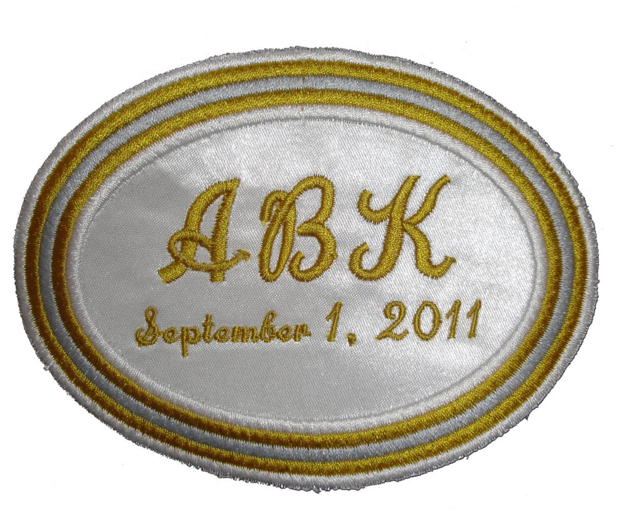 50th Wedding Anniversary Oval Label in Gold, Silver and White Embroidered and Personalized