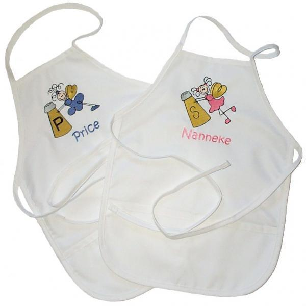 Custom Embroidered and Personalized Salt and Pepper Angel Aprons for Two Girls - Small Child Size